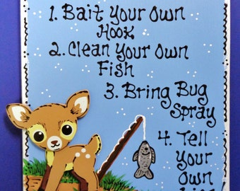 DEER FISHING RULES Sign Camping Campsite Cabin Camp Camper Outdoors Fawn Plaque Country Wood Crafts