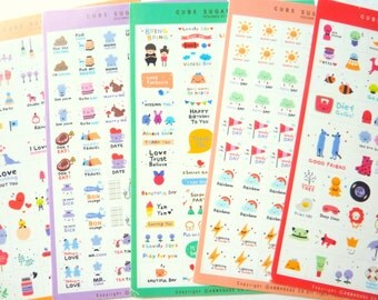 Set of 5 Super Cute Stickers for Scrapbooking and Planners