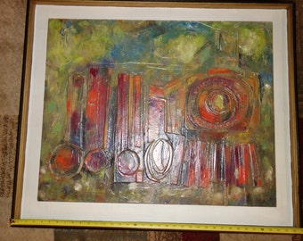 Acrylic painting Train- 37 X 31 Vintage 1977- 3D Original painting by Mark Barens