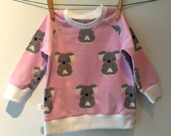 Rose koala sweatshirts, eco jersey cotton, 68 or 74 mt