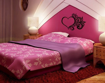 A3 hearts and butterfly vinyl wall decals