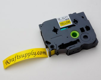 "18mm (3/4"") Laminated Black on Yellow Tape for P-touch Printer (26.2')"