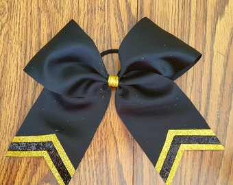 Black and Yellow Gold Triple Sparkle Bow