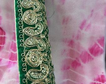Gold & green Sari border / Trim. Price per Yard