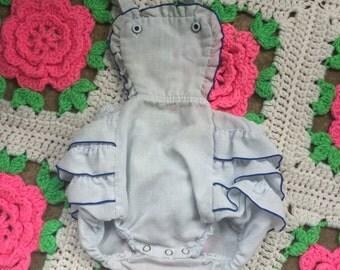 Vintage baby girl blue ruffle bum sunsuit romper