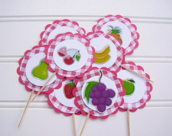 picnic cupcake toppers, fruit stand cupcake toppers, Picnic birthday party, fruit stand birthday party, shopping party, farmers market party