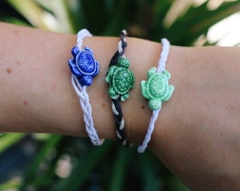 Ceramic Sea Turtle with Braided Hemp Bracelets or Anklets