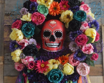 Day of Dead Wreath, Sugar Skull Wreath, Day of Dead Door Wreath, Wreath Day of Dead,