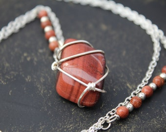 Red Tiger eye wired wrapped necklace