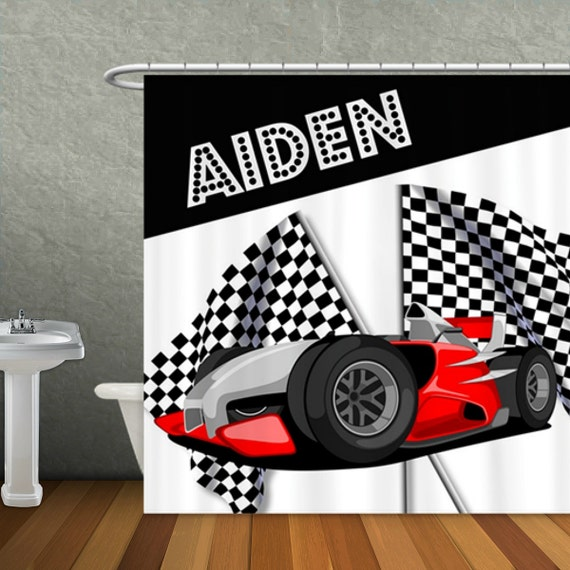 Personalized race car checkered flag shower curtain custom for Race car shower curtain
