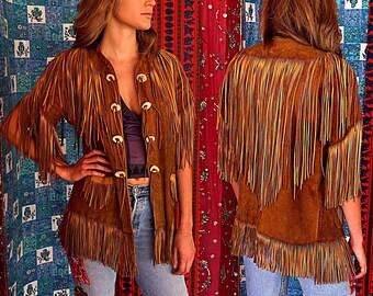 1970s East West Musical Instruments Leather Fringe Jacket Suede Fringe Jacket Hippie Woodstock Fringe Jacket Vintage