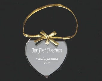 Personalized Heart Ornament- First Christmas Together Ornament, Baby Announcement, Christmas Ornament, Family Ornament