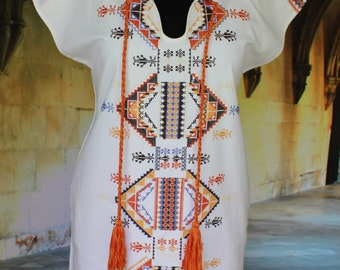 Vintage Mexican Style Cross Stitch Tunic / Huipil Aztec Designs - Frida Kahlo, Hippie, Boho, Peasant, Cowgirl, Santa Fe Style