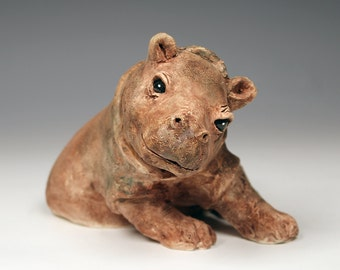 Playful hippo, ceramic hippo sculpture, taupe and brown with a hint of green ceramic hippo, original ceramic animal sculpture