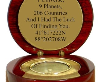 Engraved Compass Gift Custom Latitude and Longitude Nautical Gift Personalized Free GPS Groomsmen Gift Bridesmaid Gifts Valentines Day Gift
