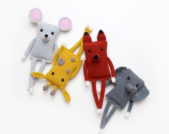 Four Friends for Life - Kikalite - 4 amigurumi patterns - Elephant, Giraffe, Fox and Mouse
