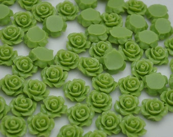 Resin Flower Cabochon Delicate Rose ,20pcs Green Rose Cabochons - 10mm.