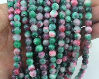6mm Round  Colorful Jade Beads,One Full Strand,Jade Beads,Colorful Beads,Gemstone Beads----about 69Pieces---15 inches--NF031
