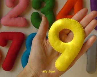 Felt Numbers, Learning Numbers,  learning numbers, Educational Toy, Felt numbers for child,  Stuffed Felt Numbers, Big numbers, Soft numbers