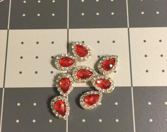 1cm by 0.6cm Red Teardrop  Rhinestone