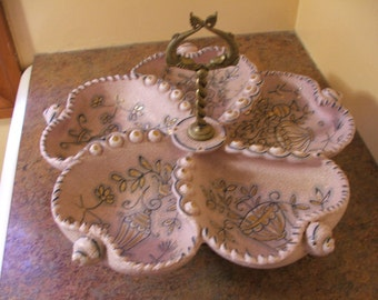 1950s Ardalt Italy MCM Pink Speckled Textured Pottery and Brass Seashell-Shaped Snack Server