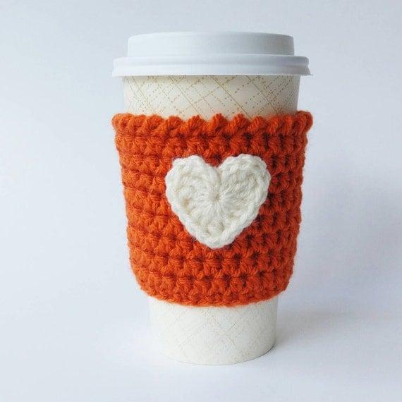 Pumpkin Spice Latte Coffee Cozy, Crochet Coffee Cup Cozy, Heart Coffee ...