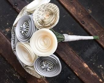 Wedding Bouquet Alternative - Paper Flower Bouquet - Rhinestone Bouquet - Bridal Bouquet - Bridal Flowers - Artificial Bouquet - Brooch
