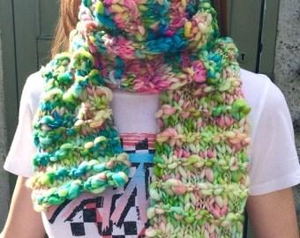 Handknit, multicolored, merino, fantasy scarf, handspun, hand dyed, boho, festival, faerie art yarn wrap, ilovepinkgerniums