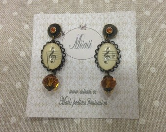 MUSIC EARRINGS STRAS
