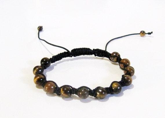 Tiger Eye Shambala Bracelet. Black String by BlueLotusTrinket