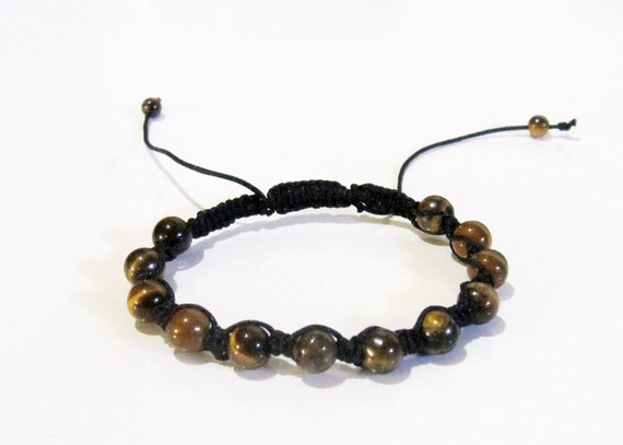 String Lights Tiger : Tiger Eye Shambala Bracelet. Black String by BlueLotusTrinket