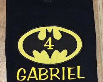 Appliqued Batman birthday shirt