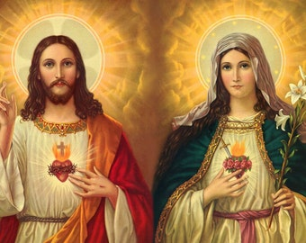 Mary and Jesus POSTER A4-A3 Catholic prints Jesus pictures Sacred heart of Jesus Religious prints Catholic wall art Catholic painting