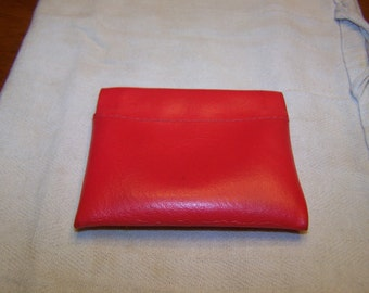 Red Leather Spring Sided Purse