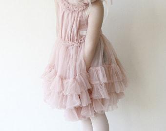 Girls Ruffled Chiffon Dance Dress in Ballet Pink