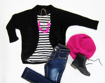 Girls Open Knit Black Cocoon Cardigan Sizes 4/5, 6/6X, 7/8, 10/12 Ready to Ship