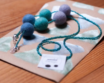 Glasses Strap with Felt and Seed Beads Aqua Turquoise Blue Green Sea Shimmer