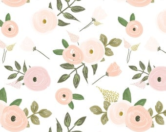 Sweet Candy Floral - Pink and Blush hand painted Flowers - Swaddle, Boppy Cover, Crib Sheet, Changing Pad Cover, Sherpa Blanket