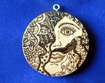 Broken Girl series #1 pyrography art wood burned pendant- SALE