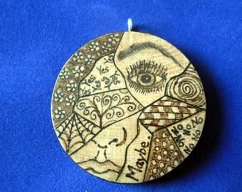 Broken Girl #2 wood burned pyrography art pendant