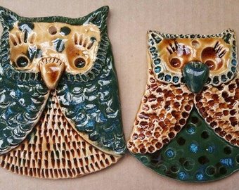 Set of 2 Decorative Ceramic Owls