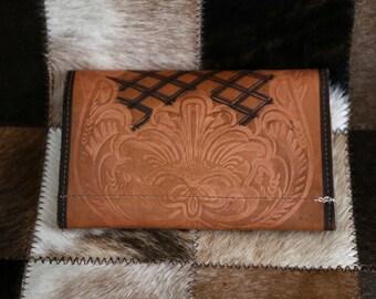 Vintage Embossed Tan leather wallet