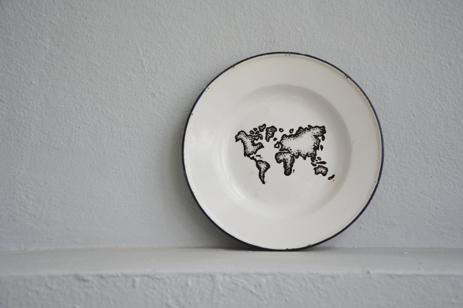 Black and white world map hand painted world map wall decor for Black and white world map wall mural
