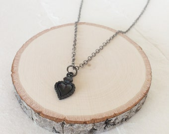 Pewter Solid Black Sacred Heart on Gunmetal Chain Necklace <3 </3 Valentine's Day of for an Emo Heart