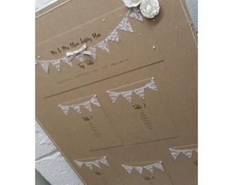 Rustic Wedding Seating Plan, shabby chic seating plan, table plan, bunting wedding table plan, Lace bunting seating plan, Kraft Table Plan