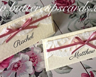 Wedding name cards lace and ribbon rustic shabby chic place settings ivory name place vintage name place cards