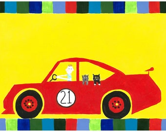 Red Sports Car with Darling Boy driver, cat and dog placemat