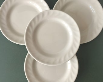 Vintage Jackson China Restaurant Ware Plates - white bread and butter plates, set of 4 | swirled rims, hotel china plate | made in England