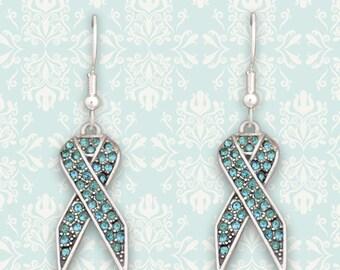 Aqua Ribbon Earrings - 51771