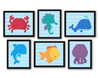 Sea Animals Art, Under The Sea Nursery, Ocean Animals Art, Sea Creatures Art, Nautical Wall Art, Kids Bathroom Art, Ocean Nursery Prints